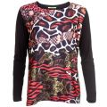 Womens Black Animal Patterned Top
