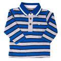 Baby Blue Striped L/s Polo Shirt