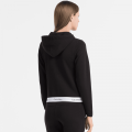 Womens Black Hooded Zip Sweat Top