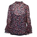 Womens Navy/Coral Garden Patch Burnout Blouse