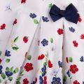 Infant White/Navy Floral Bow Dress