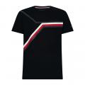 Mens Black Split Chest Stripe S/s T Shirt