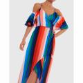 Womens Multi Stripe Rosalind Midi Dress