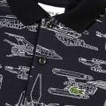 Boys Navy & White In Space Print S/s Polo Shirt