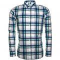 Mens Coastal Blue Askie Madras Slim Fit L/s Shirt