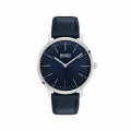 Mens Blue/Silver Exist Leather Watch