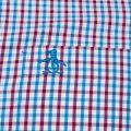 Mens Mosaic Blue Gingham Slim Fit L/s Shirt