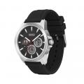 Mens Silver/Black Twist Silicone Watch