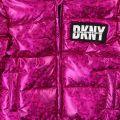 Girls Hot Pink Metallic Padded Hooded Jacket
