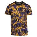 Mens Dark Blue Baroque Logo Print Slim Fit S/s T Shirt