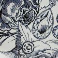 Womens Navy & Chalk Ink Roses Flat Frame Purse