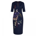 Womens Navy Carvir Midi Bodycon Dress