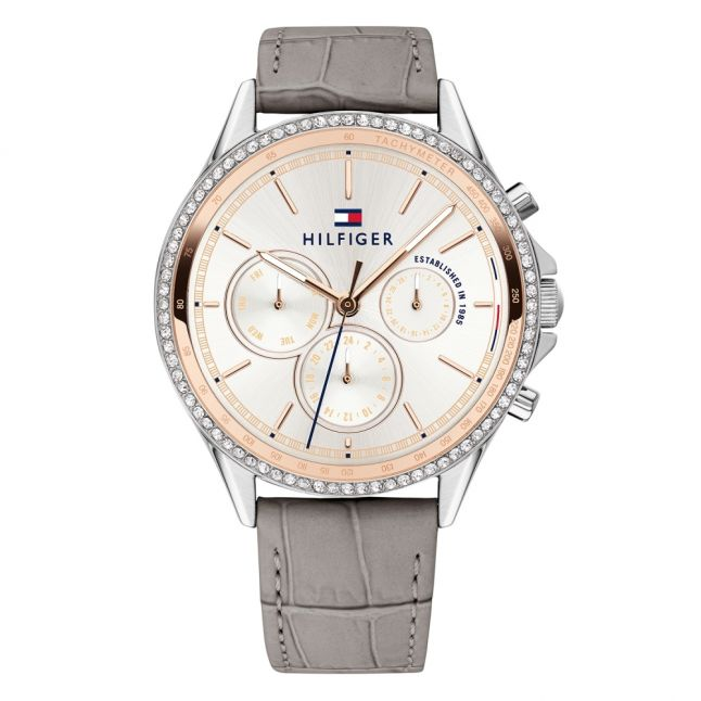 Womens Silver/Rose Gold/Grey Ari Leather Watch