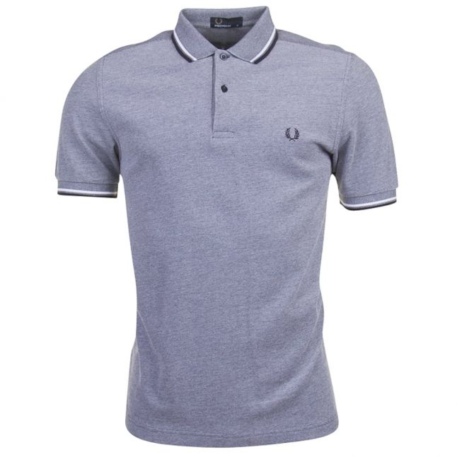 Mens Dark Carbon Oxford Twin Tipped S/s Polo Shirt