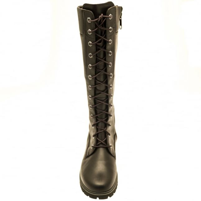 Womens Black 14 Inch Side-Zip Lace-Up Boots