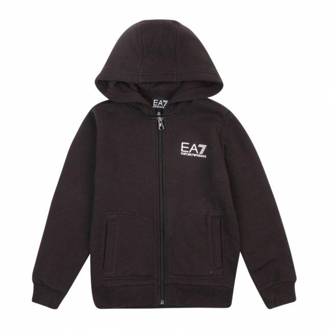 Boys Black Branded Hooded Zip Sweat Top