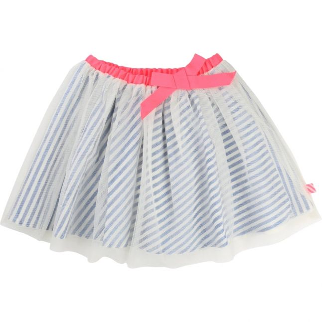 Girls Blue Striped Net Skirt