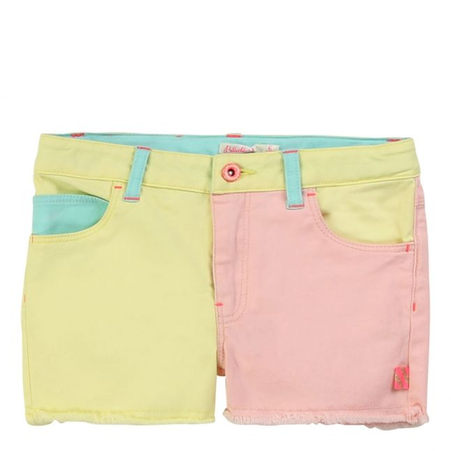 Girls Yellow Multi Patchwork Shorts