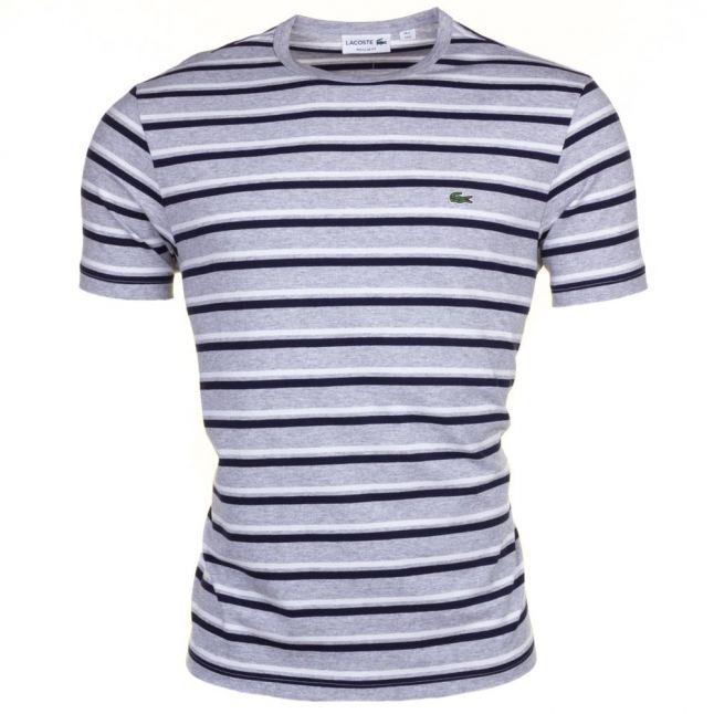 Mens Grey & Navy Striped Crew S/s Tee Shirt