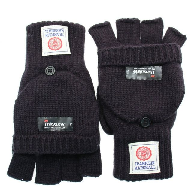 Mens Navy Knitted Gloves