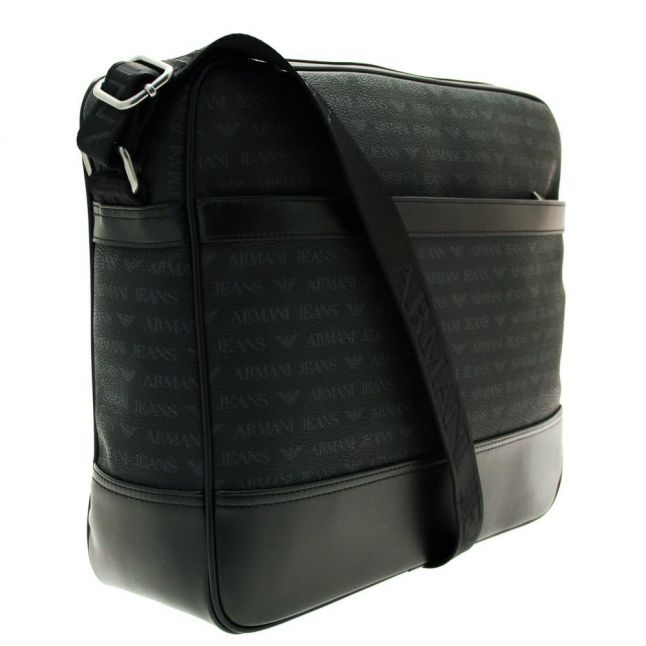 Mens Black Logo Messenger Bag