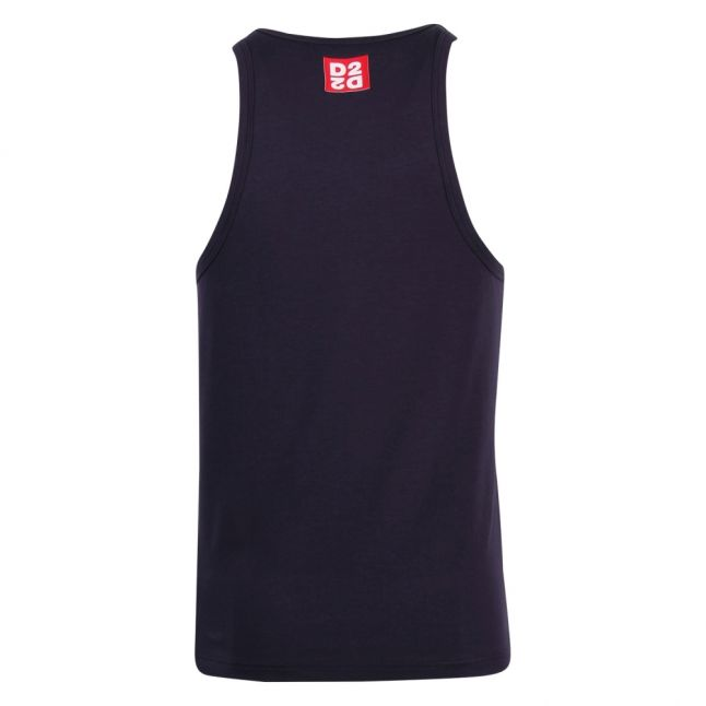 Mens Navy Branded Vest Top