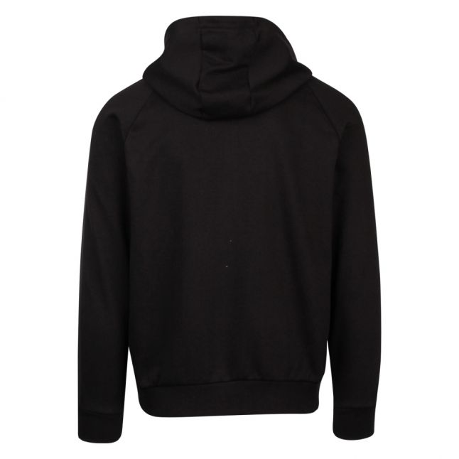 Mens Black Branded Trim Hooded Zip Through Sweat Top