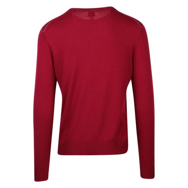 Mens Red Branded Crew Knitted Jumper