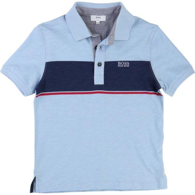 Boys Blue Block Stripe S/s Polo Shirt
