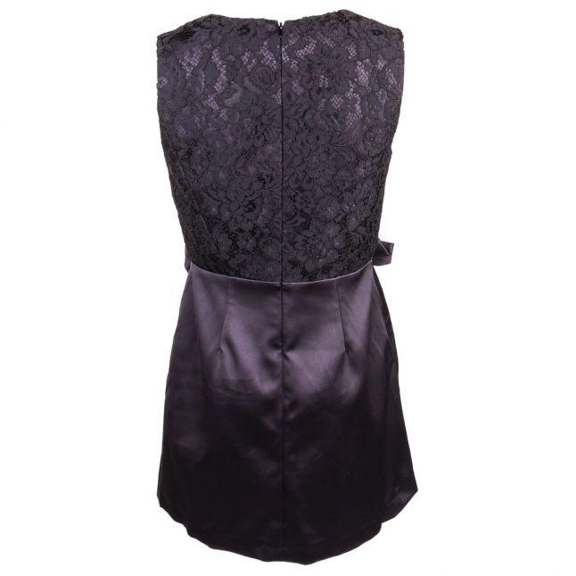 Womens Black Juliet Satin Sleeveless Bow Front Dress