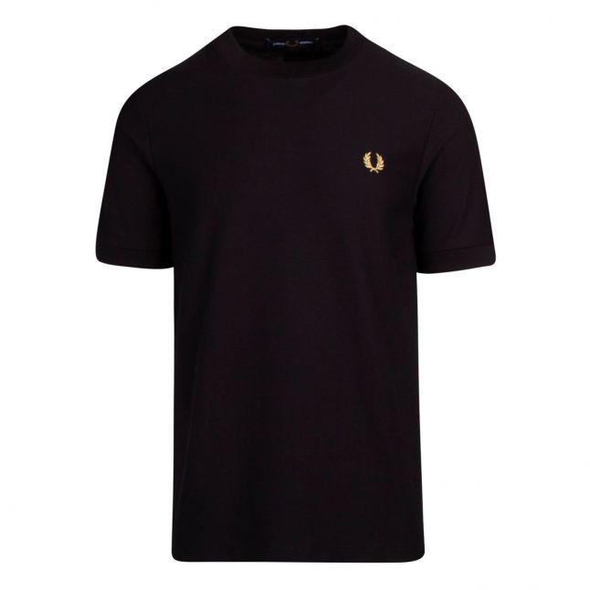 Mens Black Pique S/s T Shirt