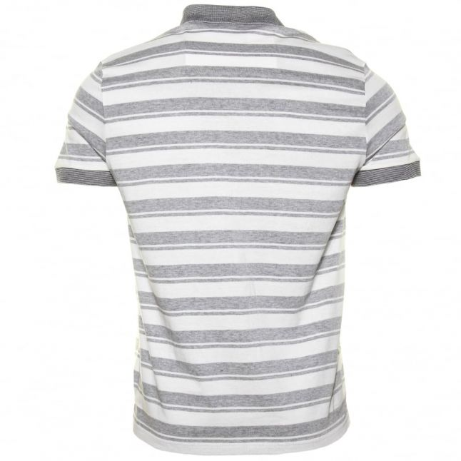 Mens Grey Striped Regular Fit S/s Polo Shirt