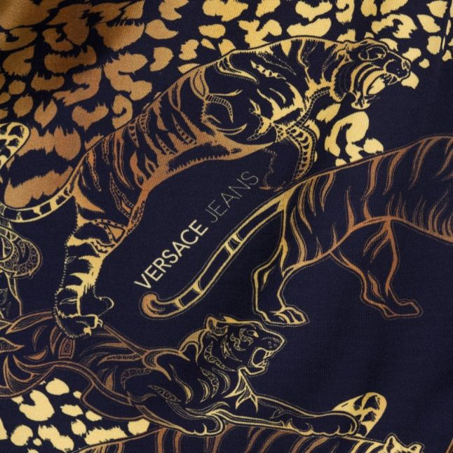Womens Black Animal Pattern Chain Detail Dress