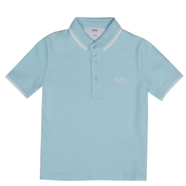 Boys Turquoise Tipped Branded S/s Polo Shirt