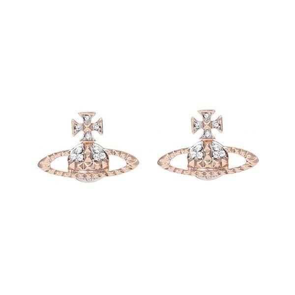 Womens Pink Gold/Crystal Mayfair Bas Relief Earrings
