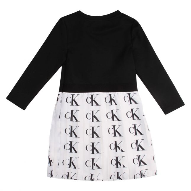 Girls Black/White Pleated Logo Dress