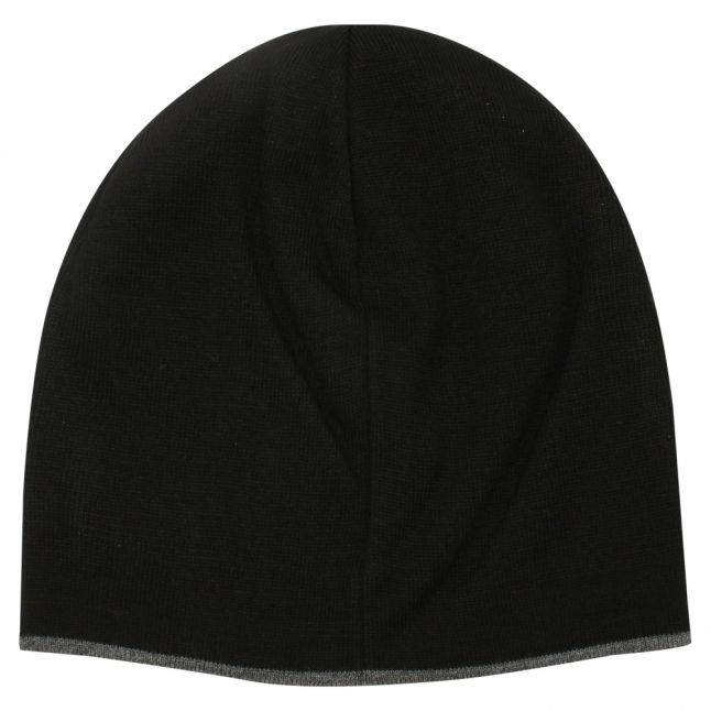 Mens Black Branded Beanie Hat