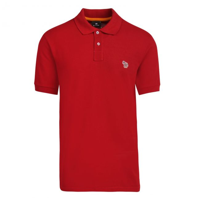 Mens Dark Red Classic Zebra Regular Fit S/s Polo Shirt