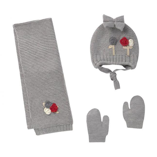 Mayoral Infant Silver Rosebud Hat, Scarf + Gloves Set