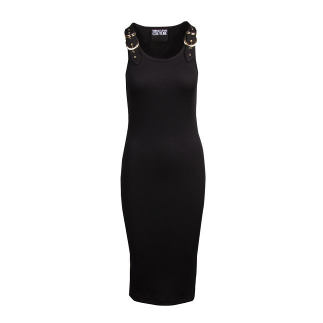 Womens Black Buckle Detail Rib Midi Dress
