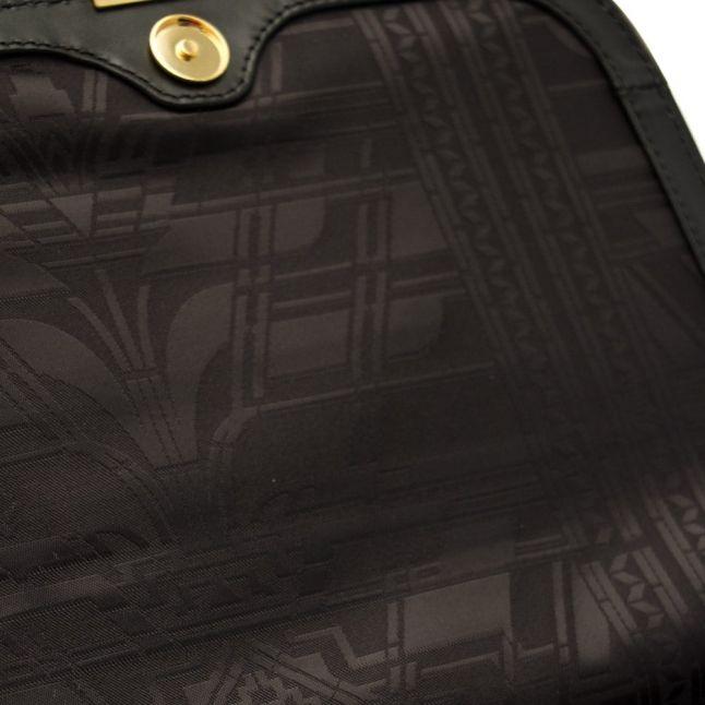 Womens Black Melaney Exotic Metal Bar Shoulder Bag