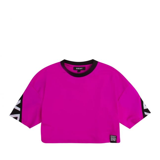 Girls Hot Pink Branded Cropped S/s T Shirt