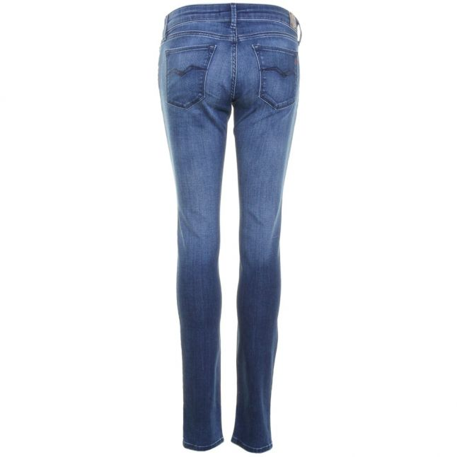 Womens Blue Luz Mid Rise Skinny Fit Jeans