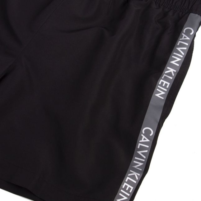 Mens Black Logo Tape Swim Shorts