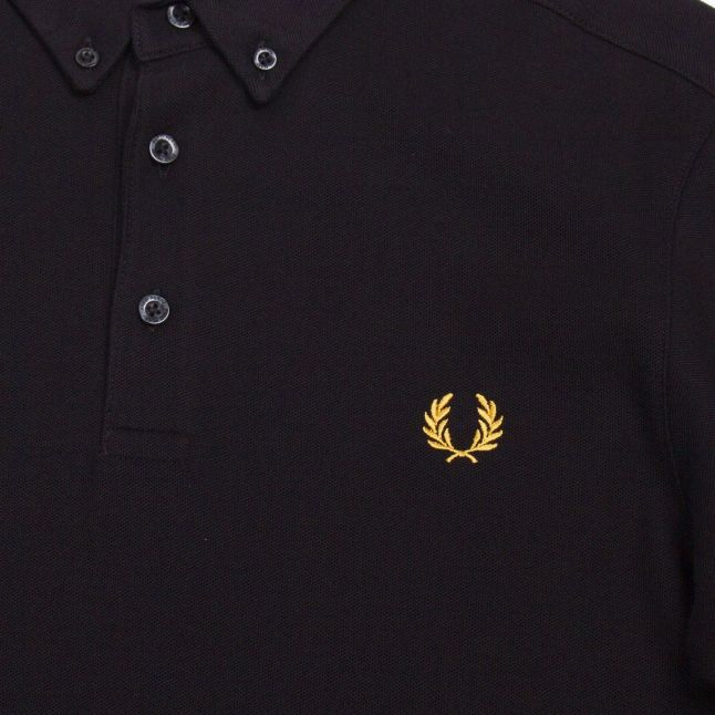Mens Black Button Down S/s Polo Shirt