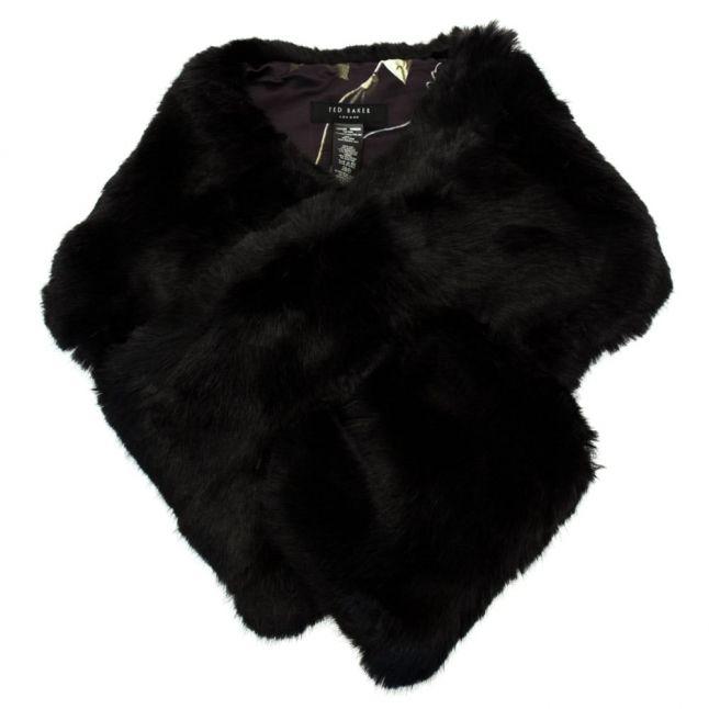 Womens Black Una Faux Fur Scarf