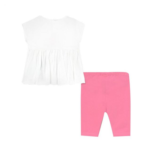 Infant White/Pink Aloha Top & Leggings Set
