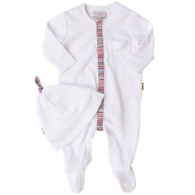 Baby White Leap Babygrow & Hat Set