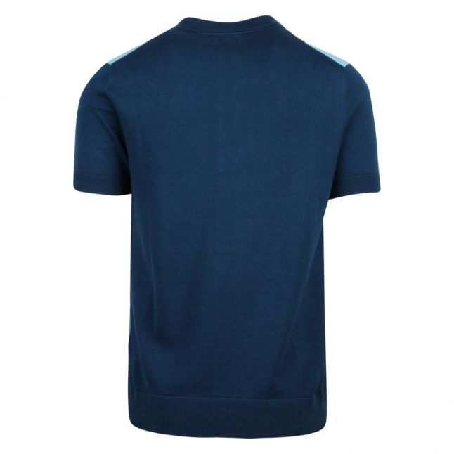 Mens Blue Lifton Knitted S/s Polo Shirt