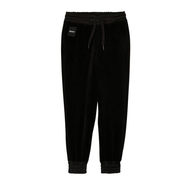 Girls Black Velvet Sweat Pants